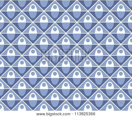 Abstract Blue Geometric Textile Pattern