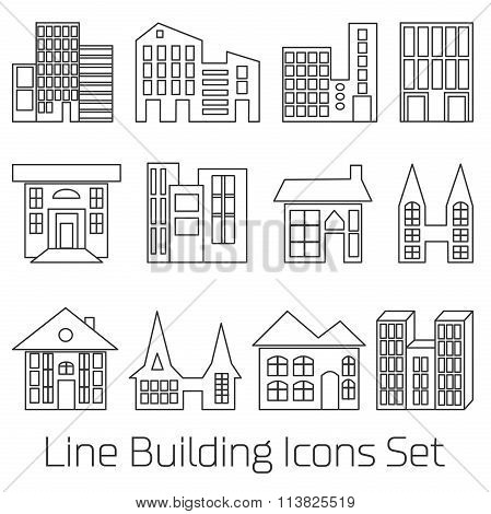line Building Icons Set