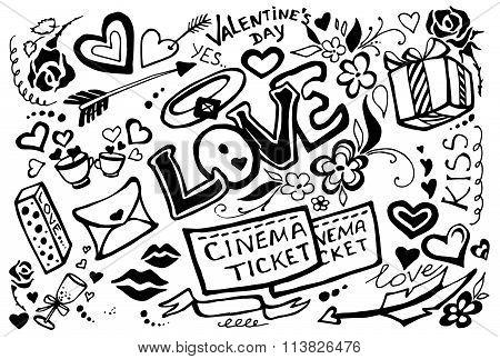 Valentines day doodle set