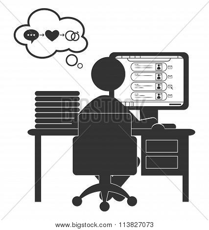 Flat computer icon with dating site isolated on white