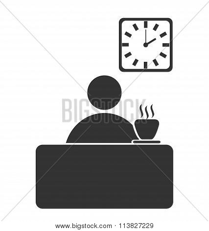 Business office coffee break flat icon isolated on white