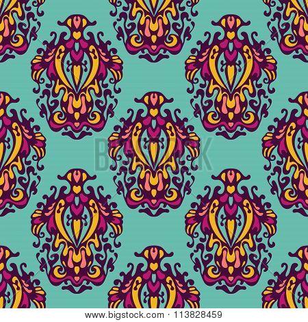 floral damask pattern vector background