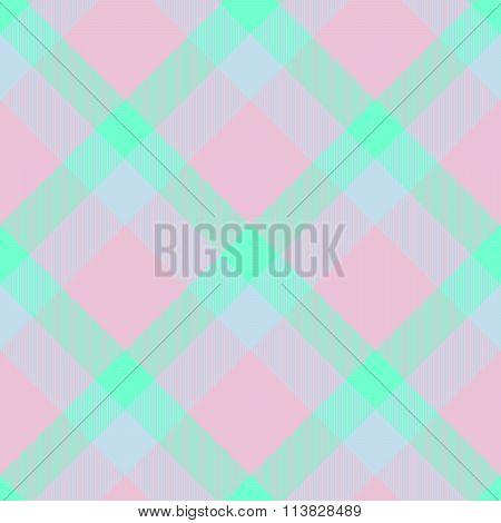 Abstract seamless checkered turquoise pink white textile pattern