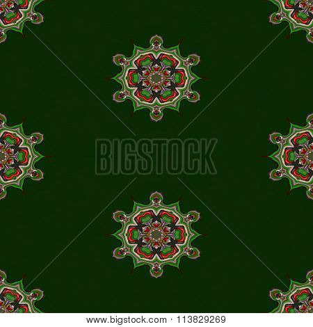 Abstract green arabian cashmere tileable seamless regular ornamental fractal pattern