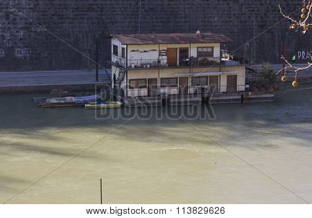 Houseboat On Tiber River In Rome
