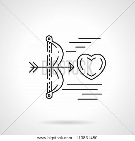 Cupids arrow shoots heart flat line vector icon
