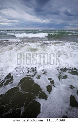 Sea Waves Hit Seashore