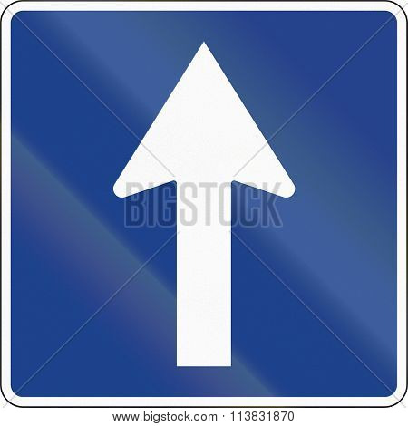 Road Sign Used In Spain - One-way Road