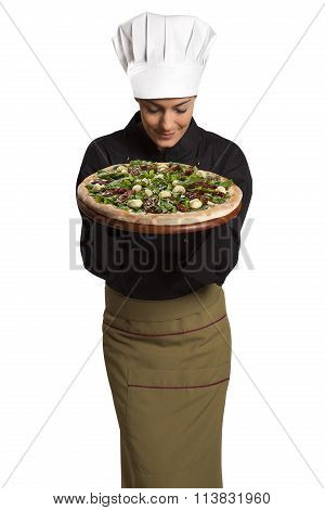 Chef Showing Board With Pizza.