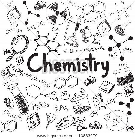 Chemistry Science Theory And Bonding Formula Equation, Doodle Handwriting And Tool Model Icon In Whi