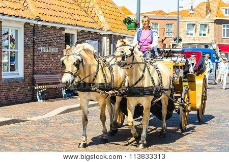 Carriage Ride Through Zierikzee, Zeeland In The Netherlands.
