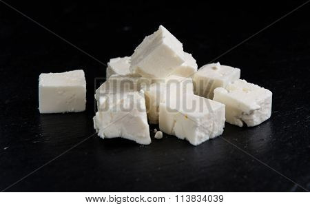 Portion Of Feta Cheese On Slate