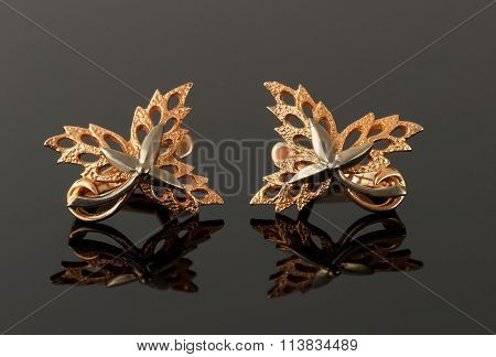 Earrings In The Form Of Maple Leaves Embellished With Platinum