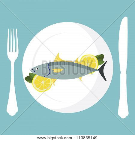 Tuna Fish On Plate