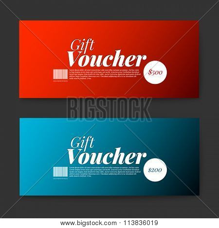 Set of gift (discount) voucher cards - red and blue minimalistic version