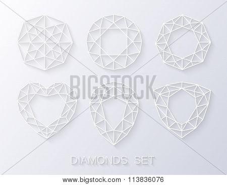Elegant paper style diamonds icons logo set. Vector illustration
