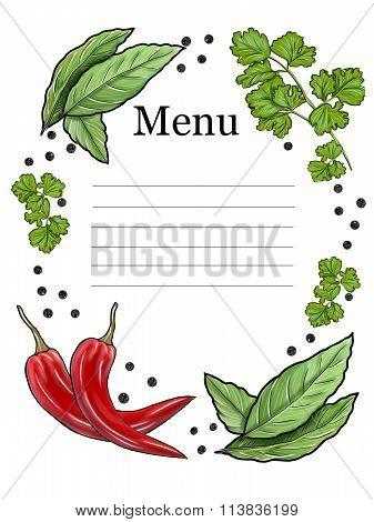 Vegetarian menu. Red pepper, bay leaf, black pepper, parsley.