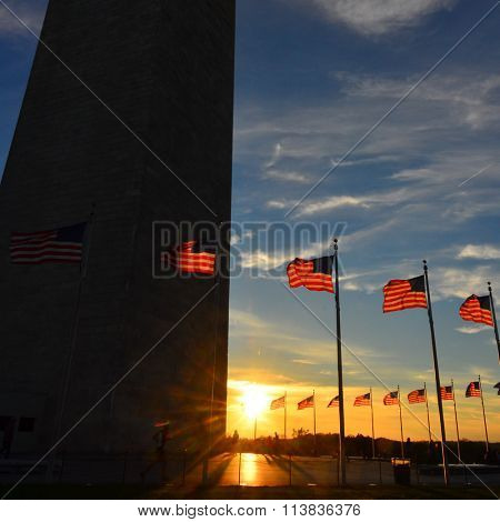Silhouette of Washington Monument and US flags at sunset - Washington DC, USA