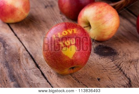 Valentines Day Card - Red Apple With I Love You Text And Heart