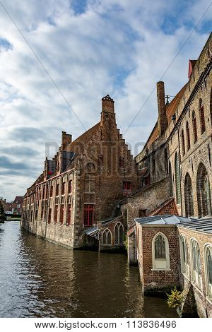 Medieval houses over canals of Bruges, Begium
