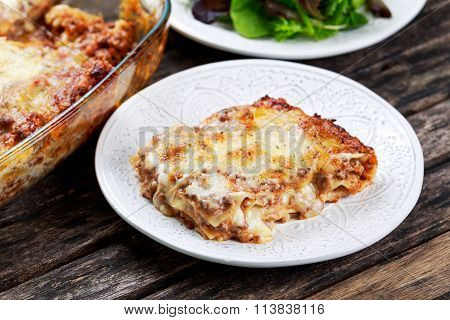 Baked Italian Home Made Lasagna On A Plate