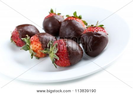 Fresh Strawberries Dipped In Dark Chocolate On White Background