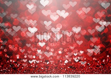 Red Valentine Day Glitter Heart Background