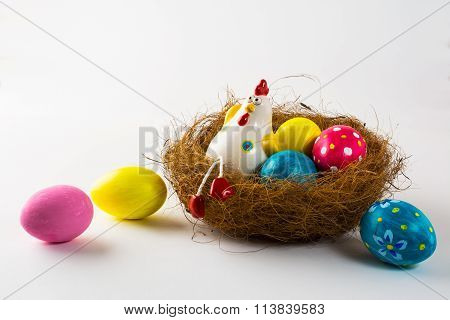 Porcelain Hen And Easter Eggs