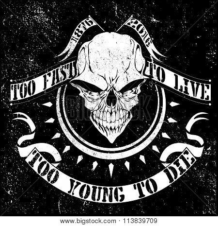 Vintage Vector Skull T Shirt Graphic Design