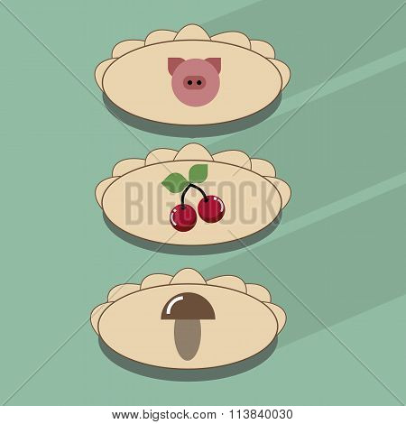dumplings with cherries, meat, mushrooms.Pelmeni,  Ravioli and tortellini. The vector icon of dough