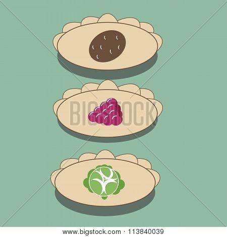Dumplings with potatoes, cabbage, raspberries. Pelmeni, Ravioli and tortellini. The vector icon of d