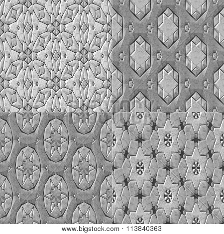 Set Of 4 Caleidoscopic Mosaic Ornamental Seamless Pattern
