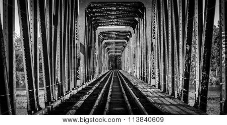 Railway bridge and tracks - single point perspective.