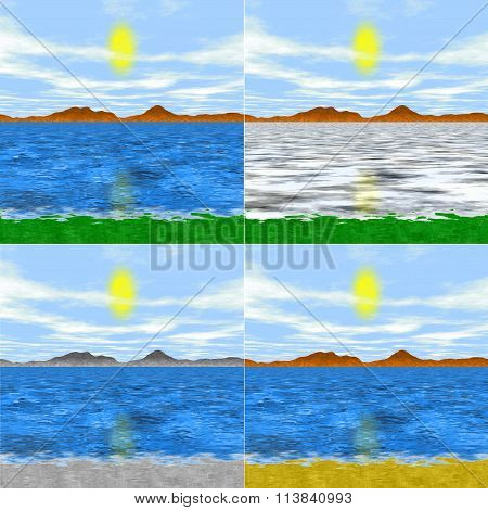 Set Of 4 Isolated Simple Generated Landscapes