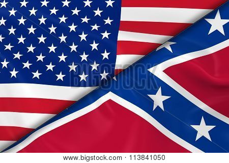 Flags Of The United States Of America And The Confederacy Divided Diagonally - 3D Render Of The Amer
