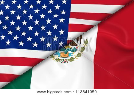 Flags Of The United States Of America And Mexico Divided Diagonally - 3D Render Of The American Flag