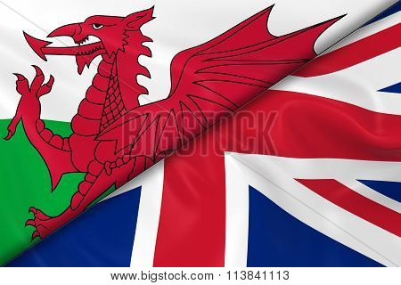 Flags Of Wales And The Uk Divided Diagonally - 3D Render Of The Welsh Flag And United Kingdom Flag W