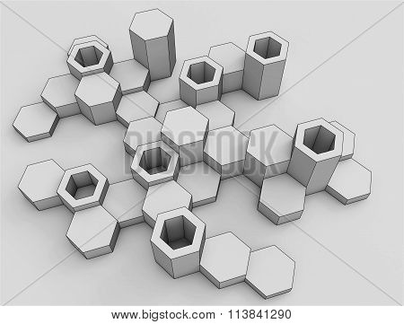 Abstract background of hexagons. Voluminous shapes. The bright monochrome range. Modern hexagonal el