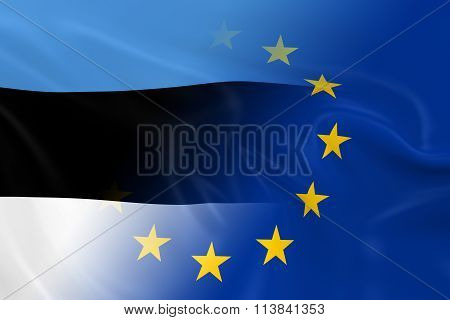 Estonian And European Relations Concept Image - Flags Of Estonia And The European Union Fading Toget