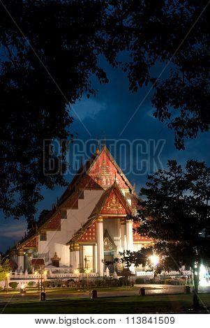Twilight Scene Of Wat Mongkhon Bophit In Ayutthaya.