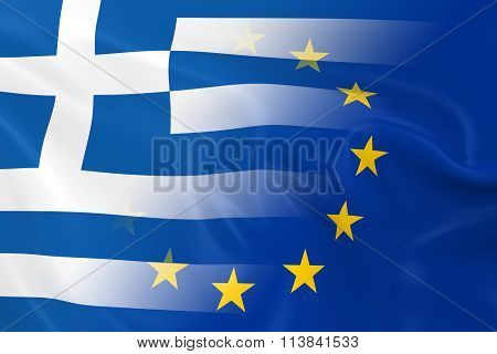 Greek And European Relations Concept Image - Flags Of Greece And The European Union Fading Together