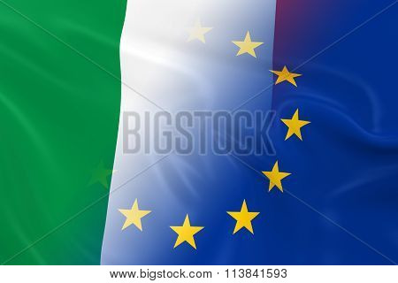 Italian And European Relations Concept Image - Flags Of Italy And The European Union Fading Together