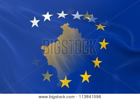 Kosovan And European Relations Concept Image - Flags Of Kosovo And The European Union Fading Togethe