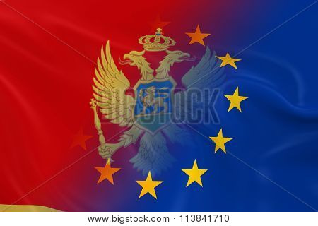 Montenegrin And European Relations Concept Image - Flags Of Montenegro And The European Union Fading