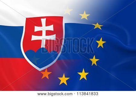 Slovakian And European Relations Concept Image - Flags Of Slovakia And The European Union Fading Tog