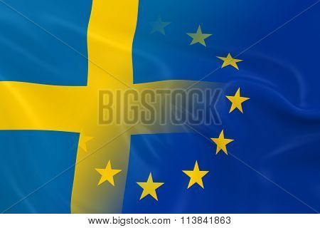Swedish And European Relations Concept Image - Flags Of Sweden And The European Union Fading Togethe
