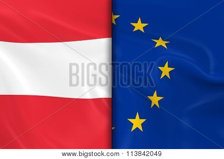 Flags Of Austria And The European Union Split Down The Middle - 3D Render Of The Austrian Flag And E