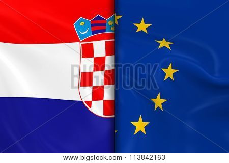 Flags Of Croatia And The European Union Split Down The Middle - 3D Render Of The Croatian Flag And E