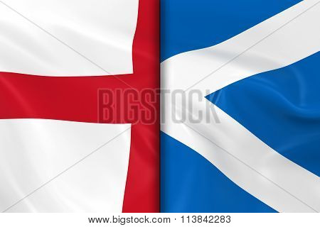 Flags Of England And Scotland Split Down The Middle - 3D Render Of The English Flag And Scottish Fla