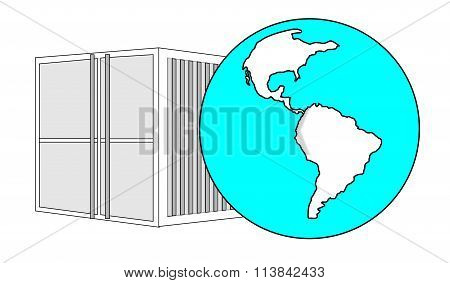 Illustration Of Metal 40 Ft Sea Container With Light Blue World Globe